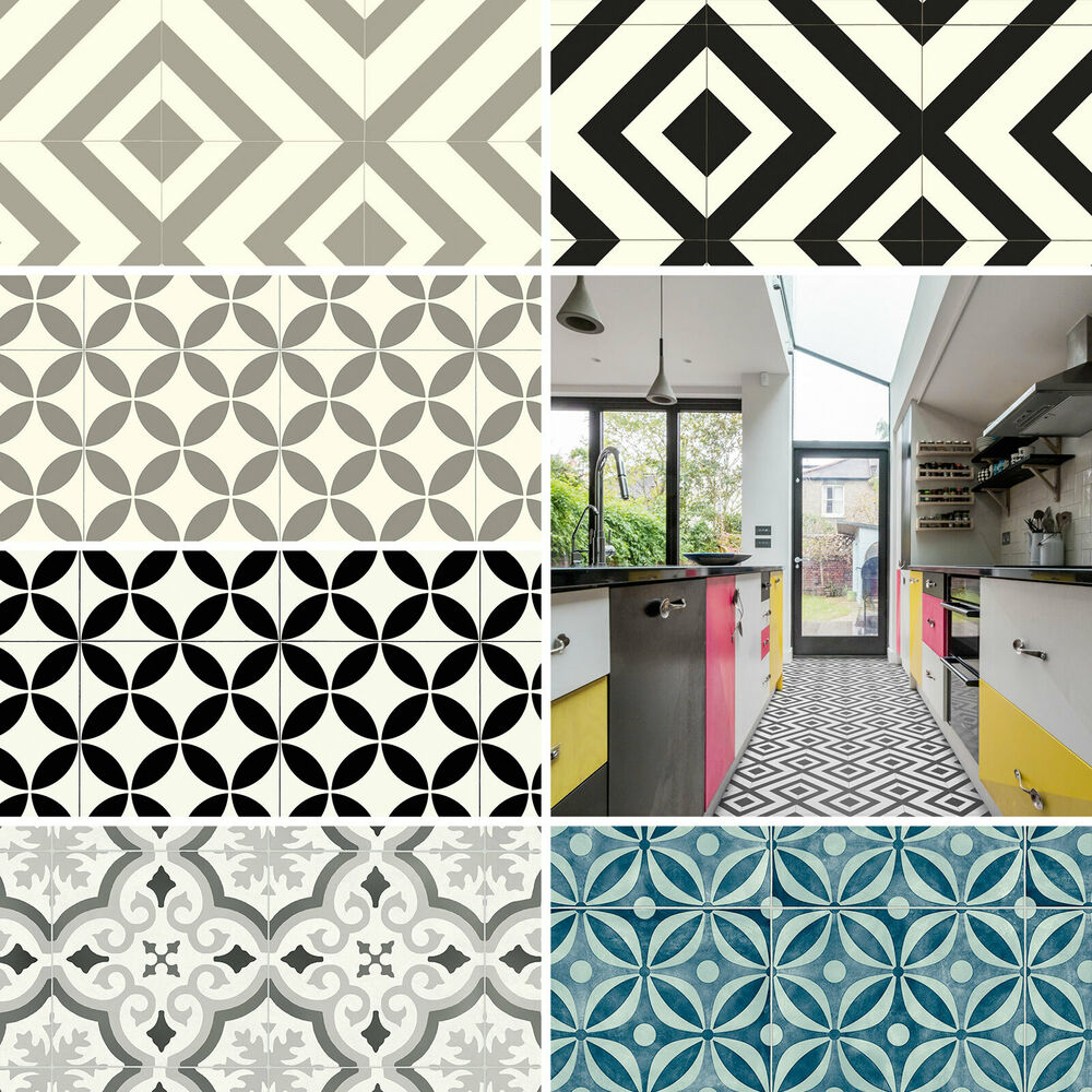 Contemporary Tile Design Ideas: Pattern Vinyl Flooring Modern Cubes Retro Tiles Kitchen