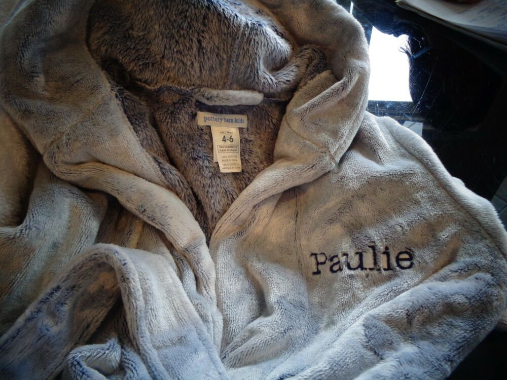 e3c8f45b7a Details about Pottery Barn kids Fleece slate blue 4 6 Robe monogrammed  Paulie New wo tag