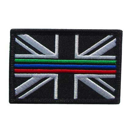 img-Triple Thin Blue Green Red Line Emergency Service Union Jack Patch Badge SMALL
