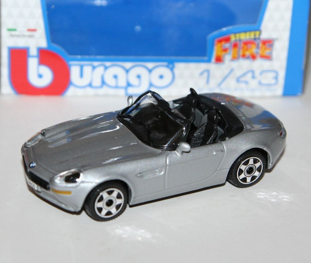 Burago Bmw Z8 Cabrio Silver Street Fire Model Scale 143