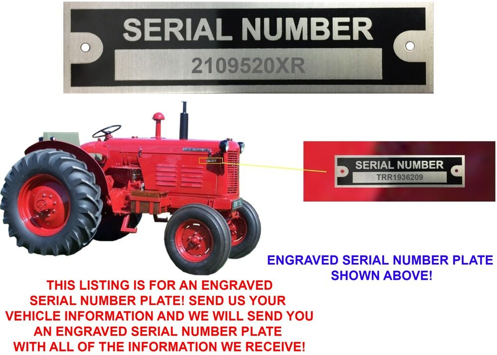 CUSTOM ENGRAVED Serial Number Data Plate ID Tag Farm Equipment ...