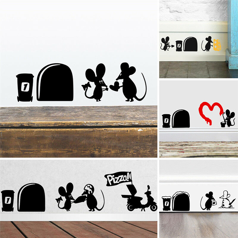 cute black mouse hole wall sticker switch wallpaper funny closestool
