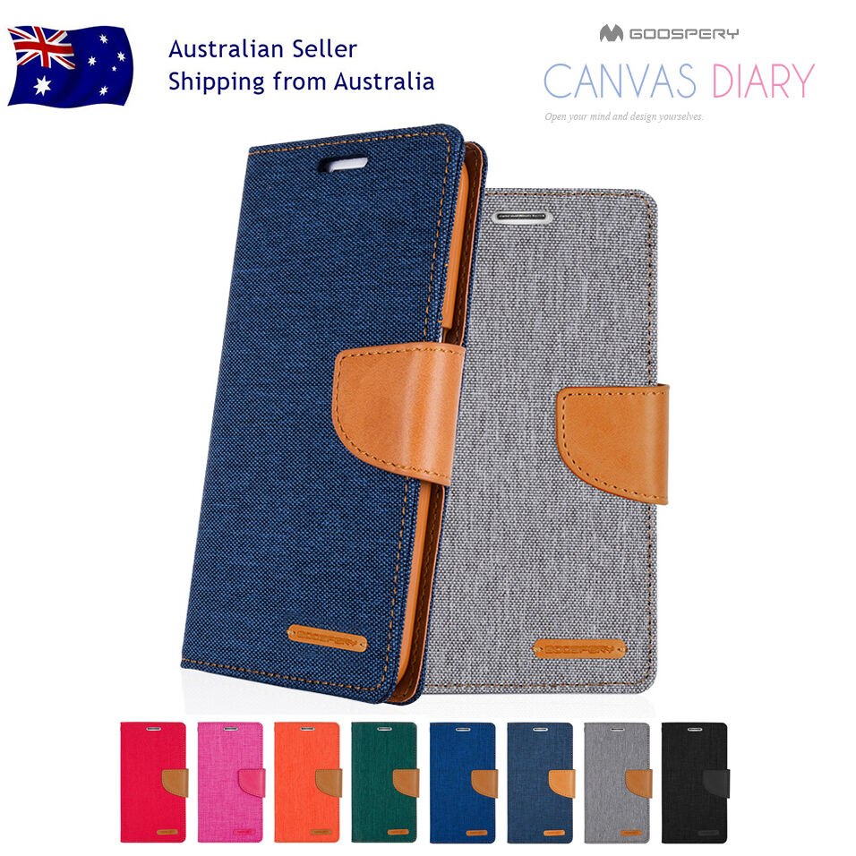 Samsung Galaxy A5 2017 A8 2018 Goospery Canvas Leather Card Wallet S8 Diary Case Blue Cover Ebay