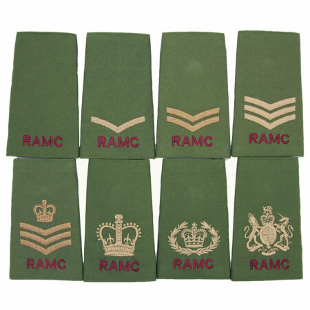 img-RAMC ROYAL ARMY MEDICAL CORPS OLIVE PCS BRITISH ARMY RANK SLIDES-SOLD IN PAIRS