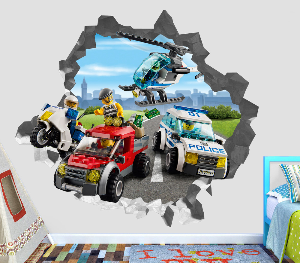 Lego City Police Villain Smashed Wall Decal 3D Sticker