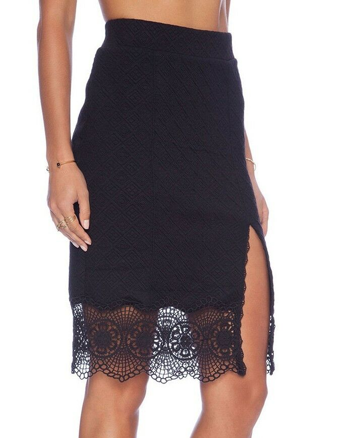 10e4b4839316 Details about Free People Black Quilted Storyteller Stretch Knit Lace Hem  Skirt - $78