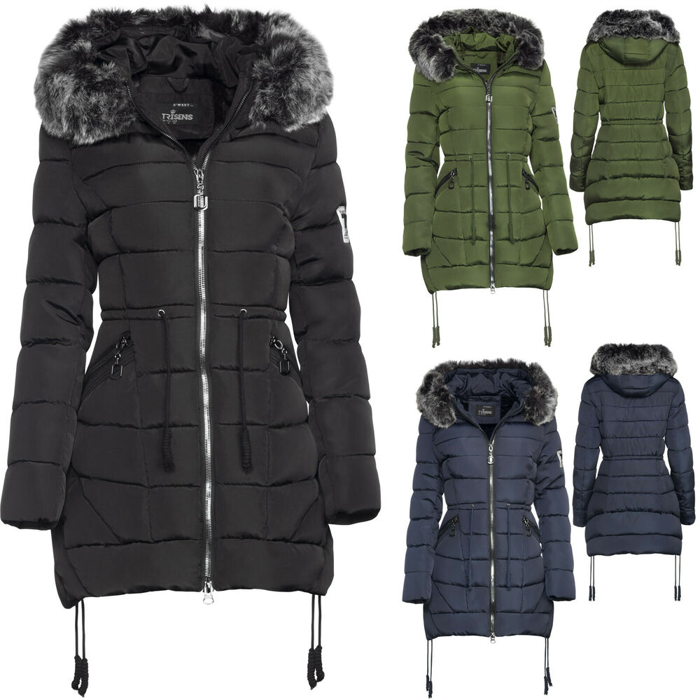 trisens damen winter parka jacke land fell kapuze warm gef ttert tailliert parka ebay. Black Bedroom Furniture Sets. Home Design Ideas