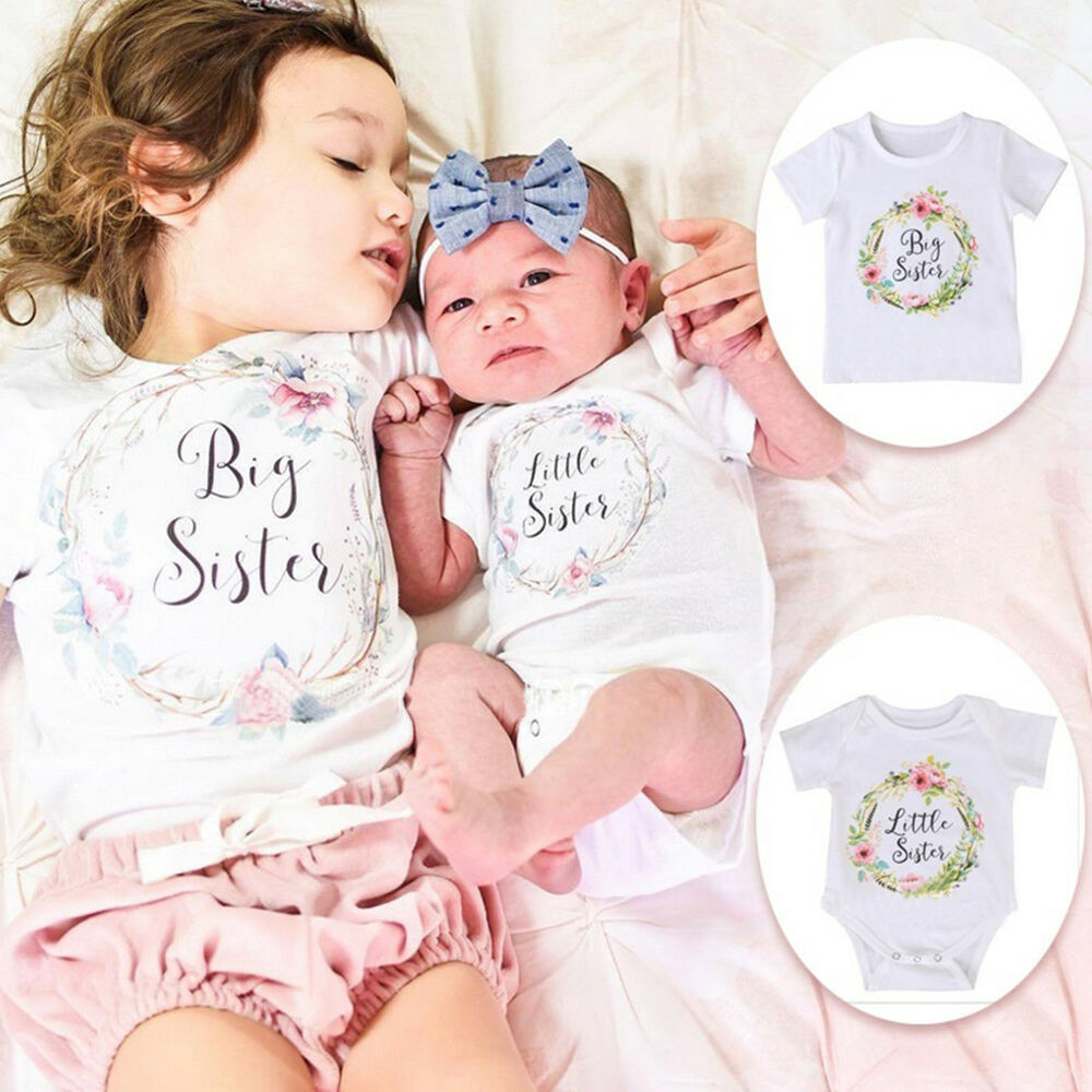 7f59dce2d57 Details about GIRL BABY COTTON CLOTHES LITTLE BIG SISTER FLORAL PRINT  T-SHIRT JUMPSUIT FUNNY
