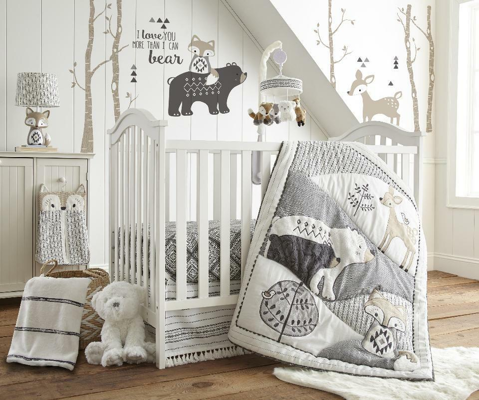 Levtex Baby Bailey Charcoal And White Woodland Themed 5