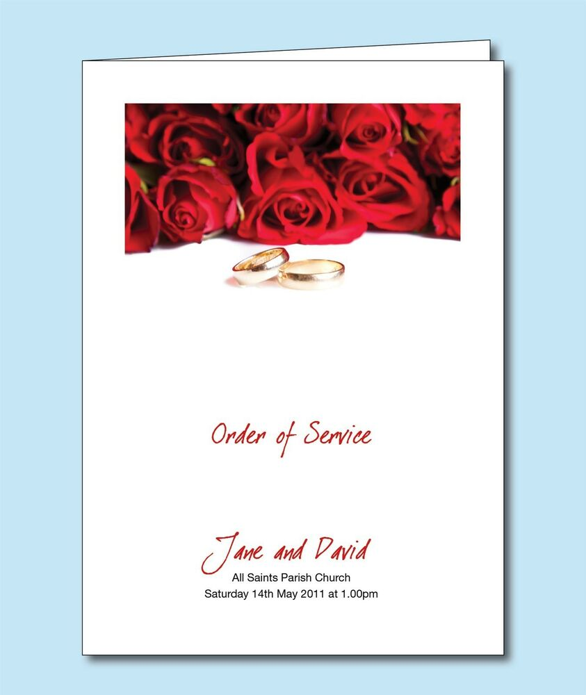 Personalised Wedding Order of Service Day Cover Booklet Gold Rings ...