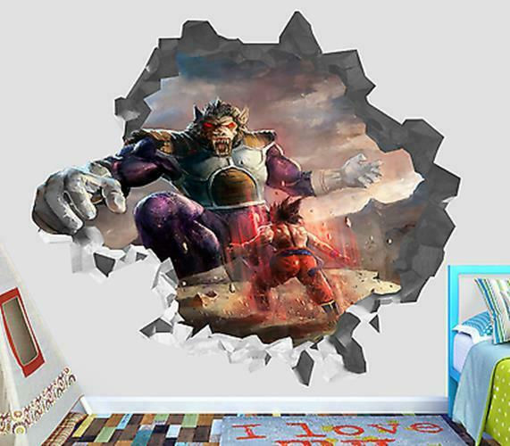 Dragon ball z wall stickers ebay goku dragon ball z 3d wall decal dbz smashed sticker decor vinyl smash op138 amipublicfo Images