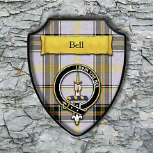 Bell Plaque with Scottish Clan Badge on Clan Tartan Background