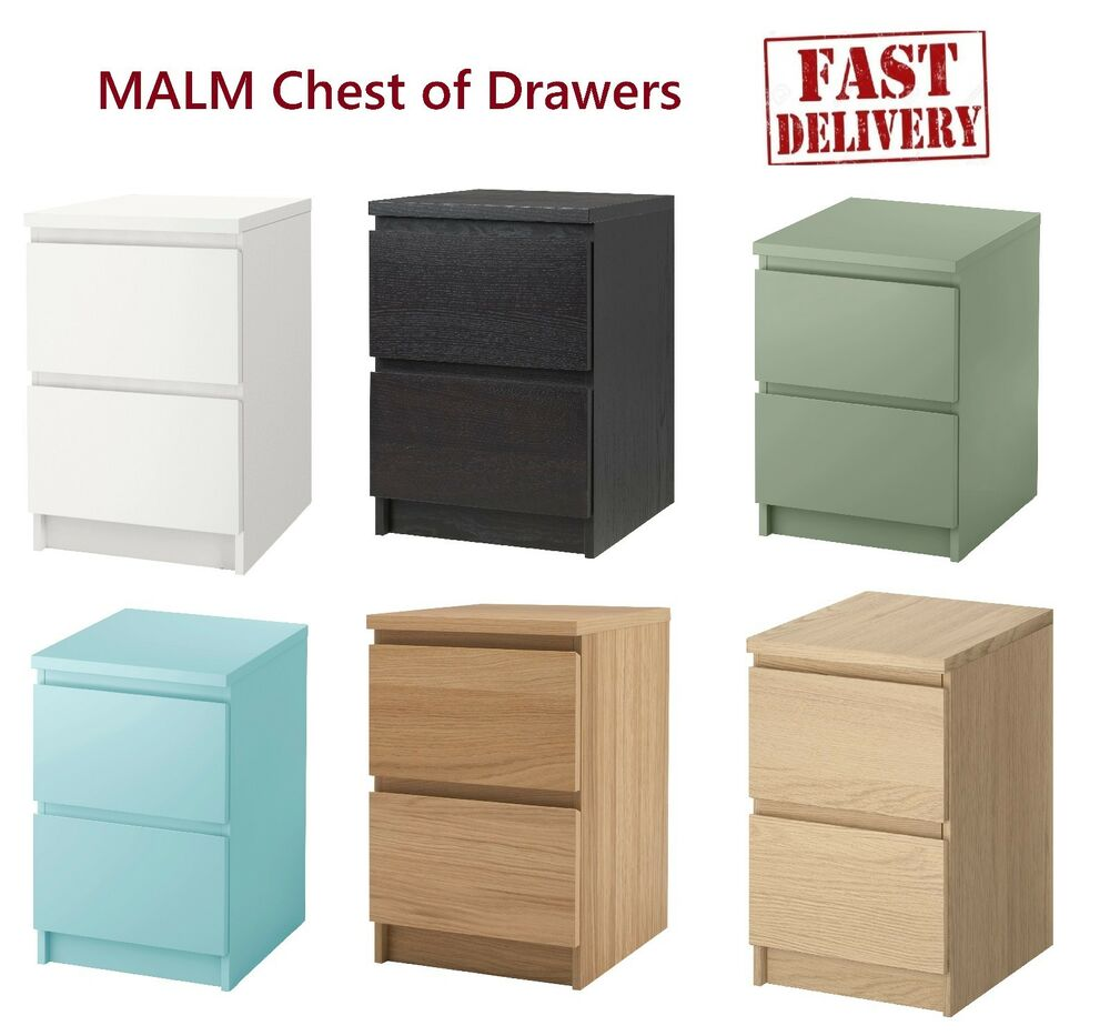 Ikea malm chest of 2 drawers bedroom furniture storage in for Ikea grey bedroom furniture