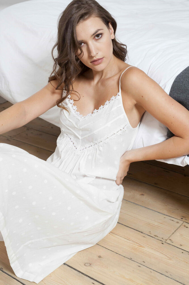 Details about Cottonreal  Norton  100% Cotton Voile Ivory Jacquard Spot Strappy  Nightdress 8c6d60fa983f