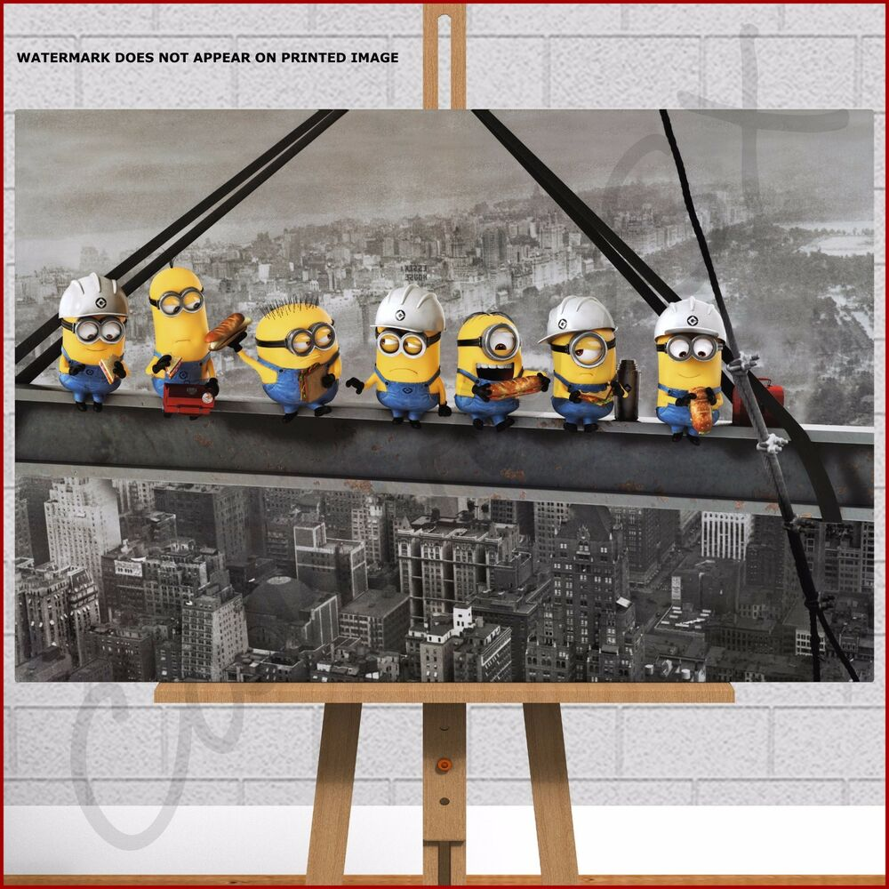 Minions Framed Canvas Print Picture Despicable Me Lunch On Girder