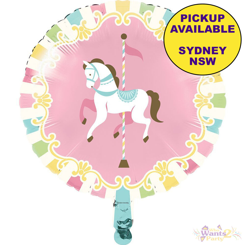 Pink Carousel Horses Party Supplies 45cm Foil Balloon Birthday