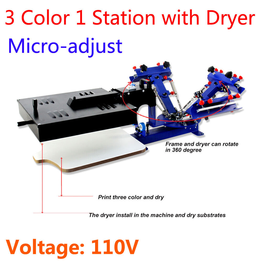 Micro Adjust 3 Color 1 Station Screen Printing Machine Dryer Table Type 110V