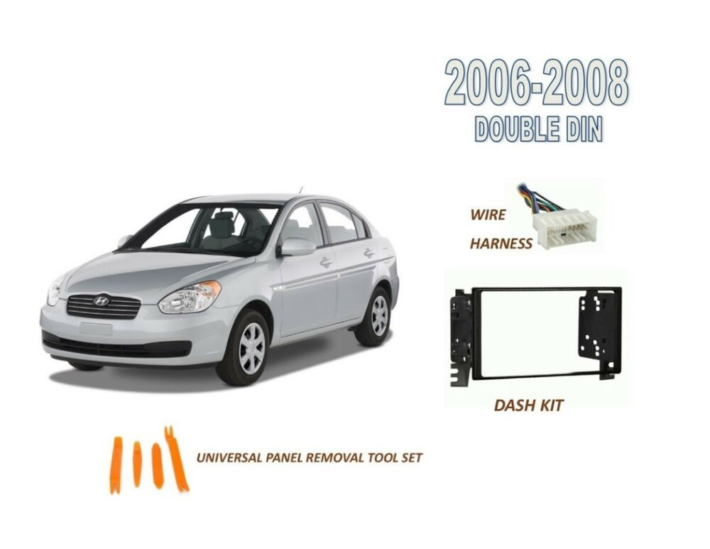stereo double din dash kit for 2006 2008 hyundai accent. Black Bedroom Furniture Sets. Home Design Ideas