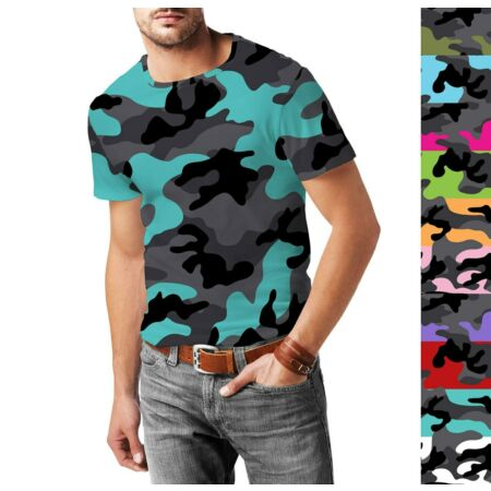 img-Dark Camouflage Mens Cotton Blend T-Shirt XS - 3XL Sublimation All-Over-Print