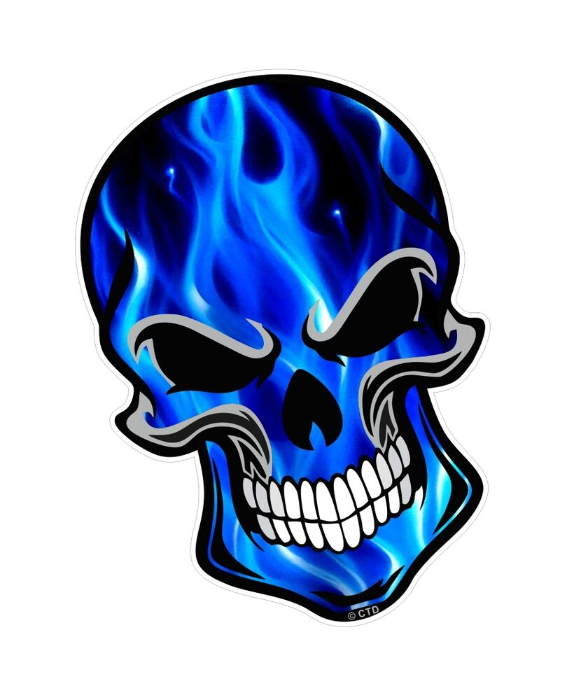 30cm gothic biker skull electric blue flames motif car bike sticker decal ebay