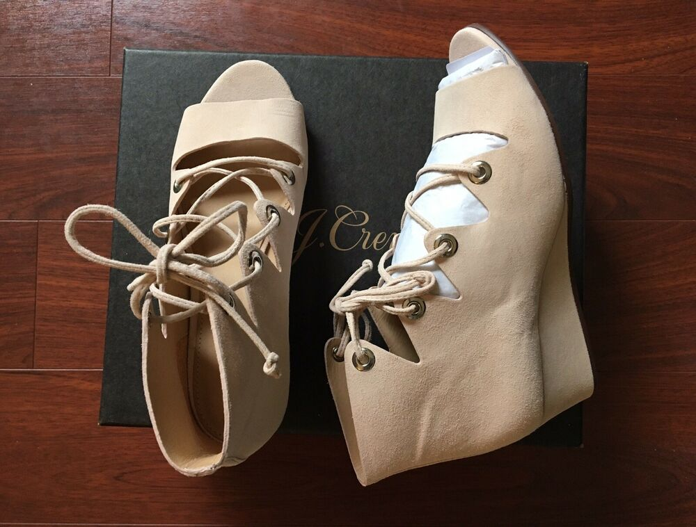 017f9d04584c Details about NEW J.Crew Laila Lace-Up Wedges In Suede Desert Pink Size 6.5