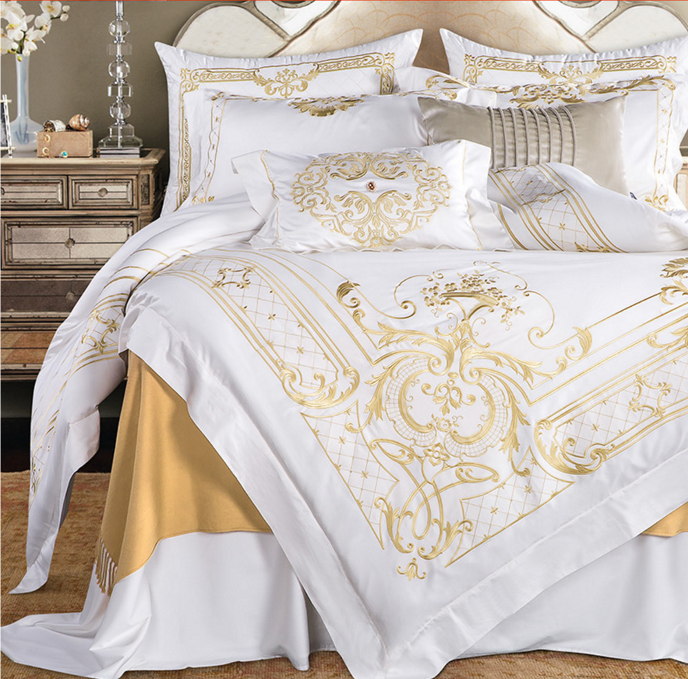 egyptian cotton white gold embroidered duvet cover bedding set high quality ups ebay. Black Bedroom Furniture Sets. Home Design Ideas