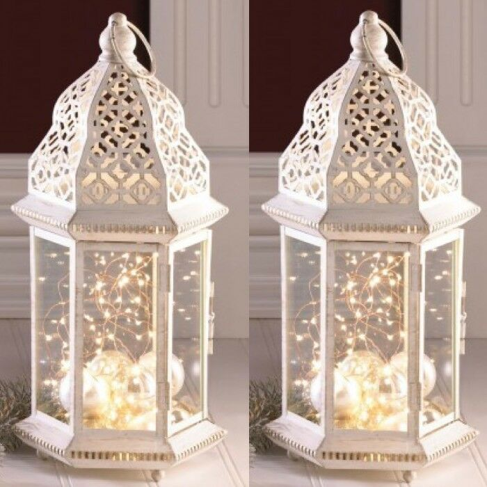 2 Large Distressed Lantern White Candle Holder Wedding Centerpieces