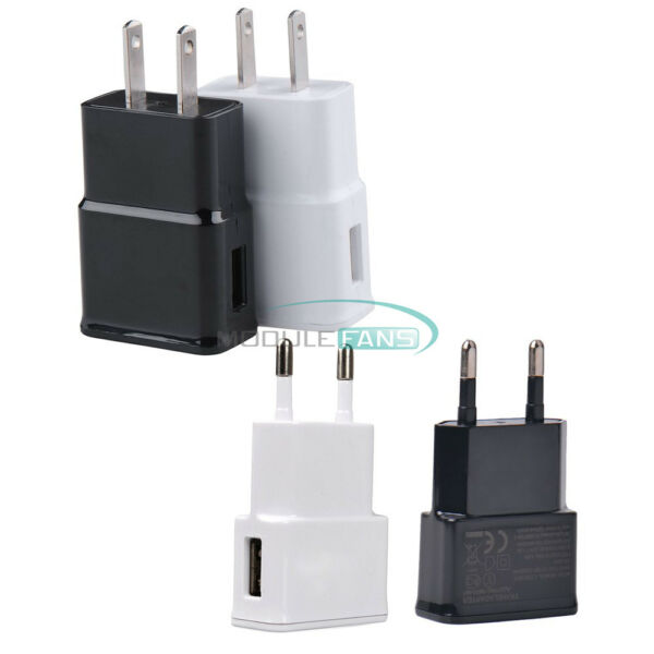 White/Black 5V 2A US/EU Plug 1 Port USB Wall Charger Power Adapter Travel