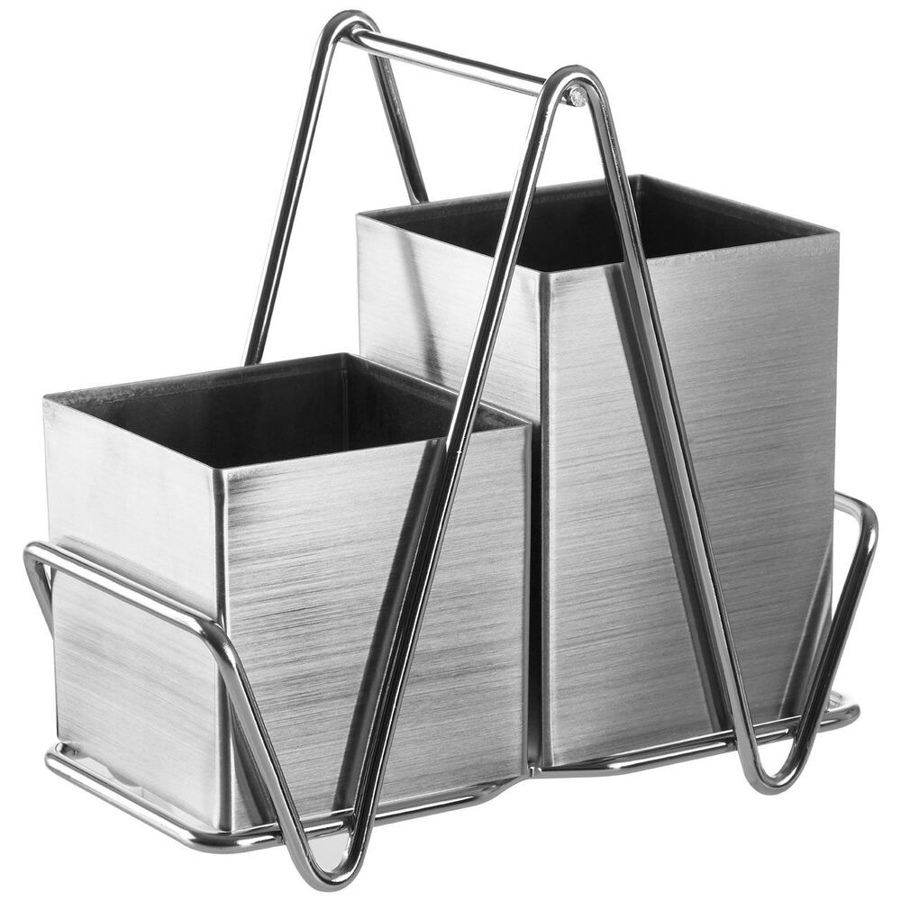 2 Compartment Cutlery Caddy Stainless Steel Sink Tidy