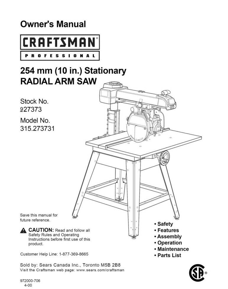 Craftsman 315 273731 Radial Arm Saw Owners Instruction Manual