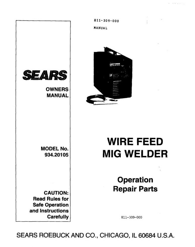 Craftsman 934.20105 Mig Welder Owners Instruction Manual | eBay