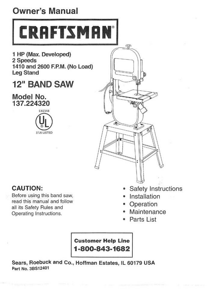 craftsman 137 224320 band saw owners instruction manual ebay rh ebay com Owner's Manual Owner's Manual