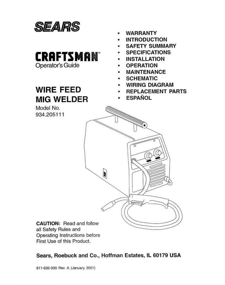 Craftsman 934.205111 Mig Welder Owners Instruction Manual | eBay