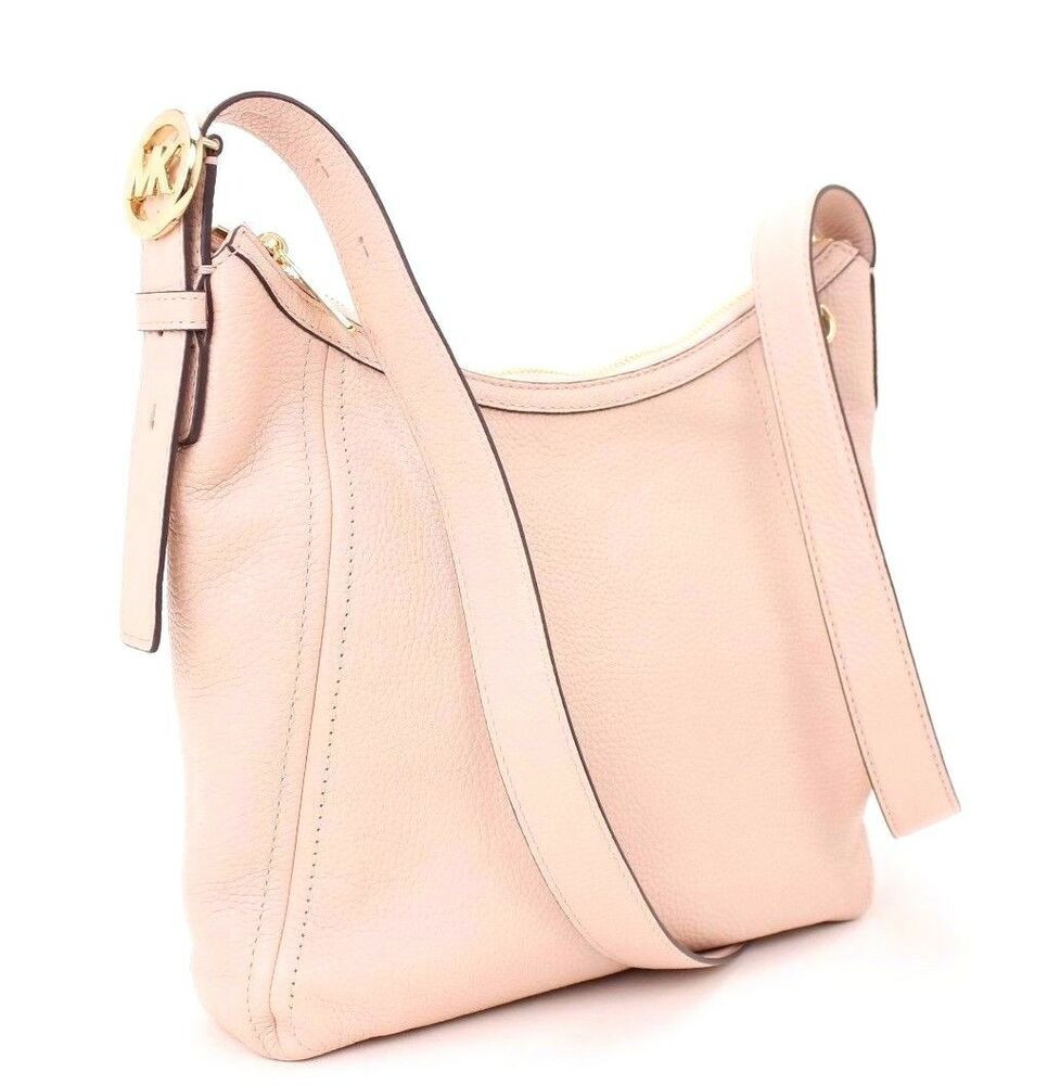 1a9622b7acaf Details about NWT Michael Kors Leather Large Messenger Crossbody (Ballet  Pink) MSRP $268