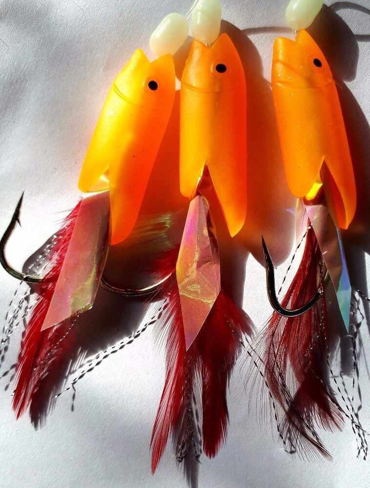 4 x PACKS LUMINOUS TRIPLE HOKKAI RIG SEA FISHING TACKLE COD SEA FISHING RIGS