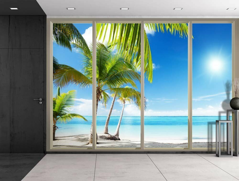 Large Wall Mural Palm Trees Beach Peel & Stick 3D Vinyl