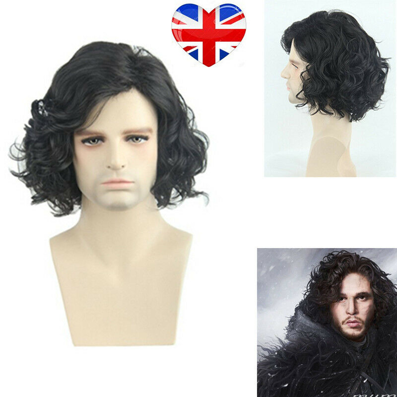 Jon Snow Cosplay Wigs Party Stage Black Short Curly Hair Wig Men Uk
