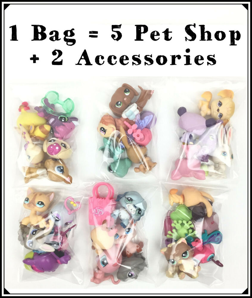 littlest pet shop set of 5 random lps 2 accessories 1 grab bag petshop set ebay. Black Bedroom Furniture Sets. Home Design Ideas