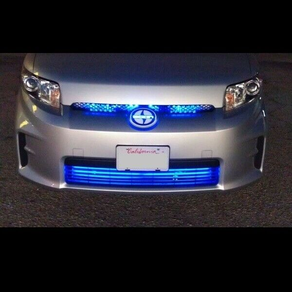 Blue Led Grill Lighting Kit Neon Glow Strips Front Of Car