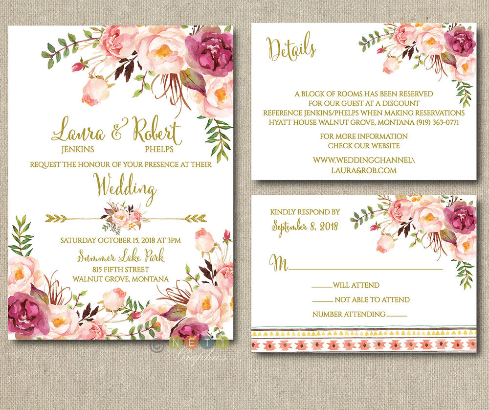 100 Personalized Pink Floral Boho Wedding Invitations Suite with ...