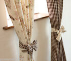 Rural Style Natural Cotton linen texture Cozy strap 1.4m x 2.5m Two Curtain