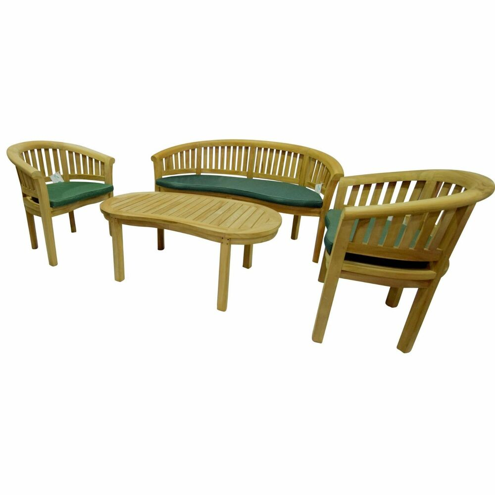 Details about banana snuggle teak wood bench chair table seat set garden click collect