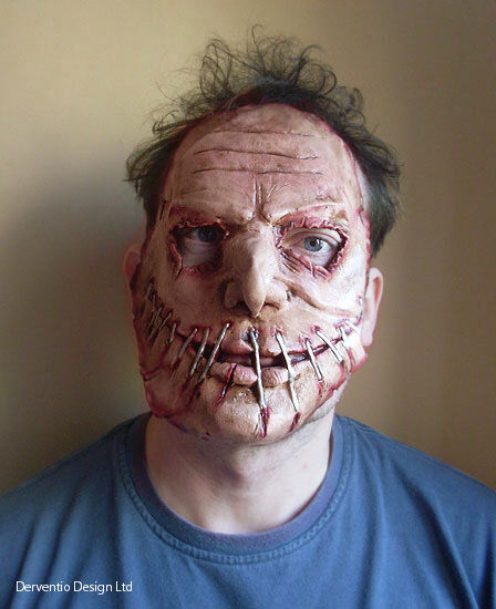 mens scary zombie face mask deluxe latex fancy dress halloween horror maske new ebay. Black Bedroom Furniture Sets. Home Design Ideas