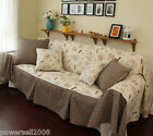 Retro Pastoral Style Khaki Grid Sofa Cloth Sofa Cover 210CM * 220CM