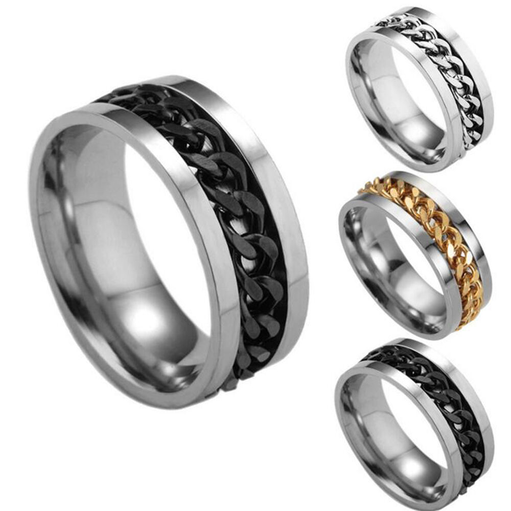 Wedding Ring On Chain Boy Or Girl: Fashion Women Mens Steel Rotatable Chain Band Ring Finger