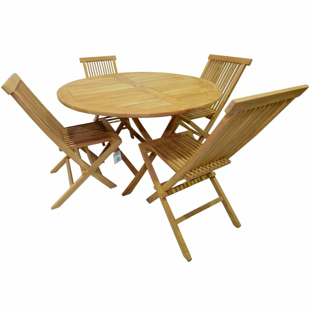 Details about kyoto teak 4 seater wood round indoor outdoor folding kitchen table chair set