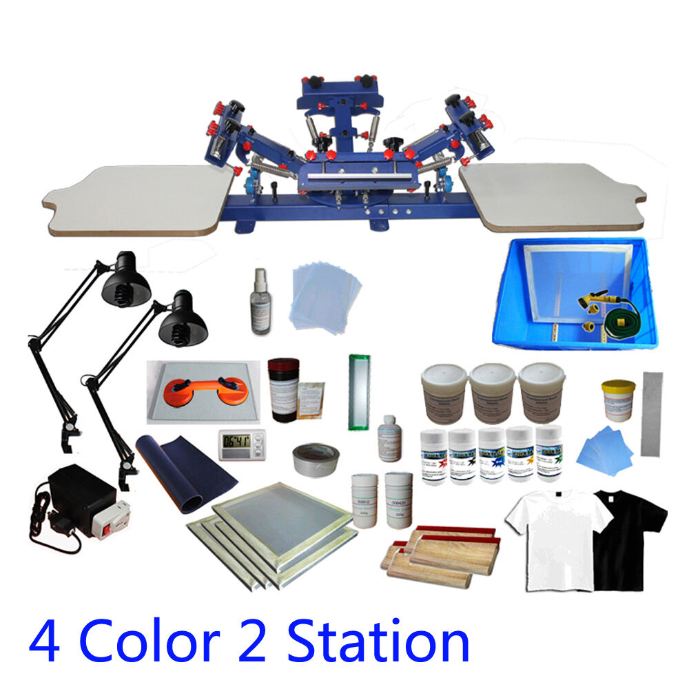 4 Color 2 Station Screen Printing Press Kit Machine Silk