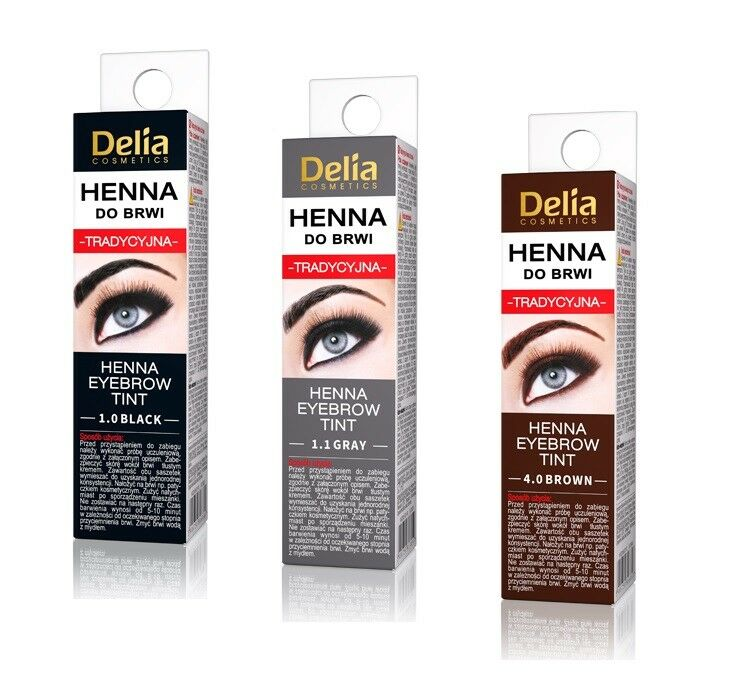 Delia Traditional Henna Eyebrow Powder Tint Kit Set 2g Brown Grey