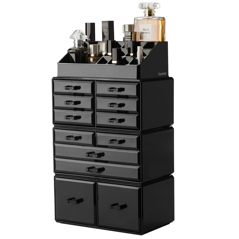 12 drawers makeup cosmetic jewelry organizer display boxes case large storage ebay. Black Bedroom Furniture Sets. Home Design Ideas