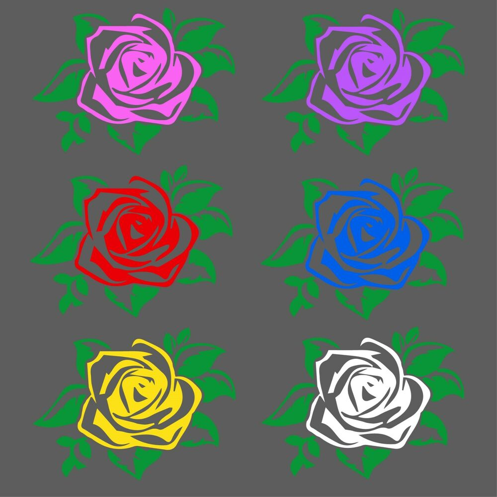 Details about two color rose decal roses flowers window bumper sticker car decor free us ship